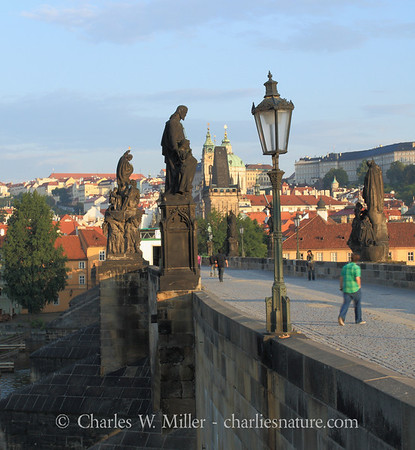 Early morning walkers on the Charles Bridge, Prague