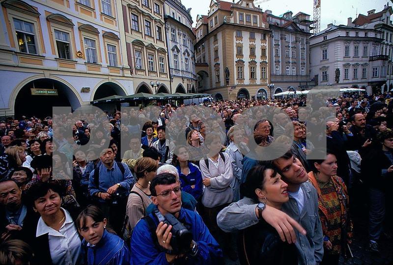 Prague astro clock tourists