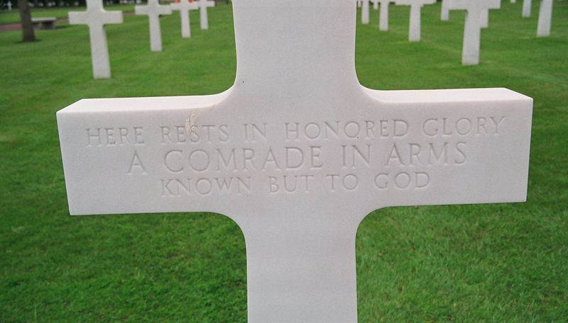 A grave for an unknown American soldier. One of many.