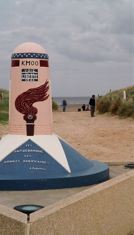 At Utah beach, a monument at a place where American troops came up from the beach. Fighting here was less intense than at Omaha. At this time in the afternoon, the day was cloudy, windy, chilly.