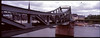 Panorama view of iron bridge over river Main in Frankfurt<br /> Xpan with 30mm lens