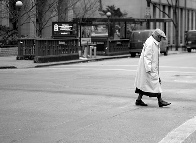 Old Woman crossing the street
