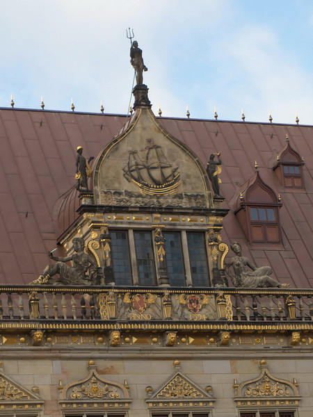 Bremen, Schütting (house of the merchants), pediment with ship (1594)