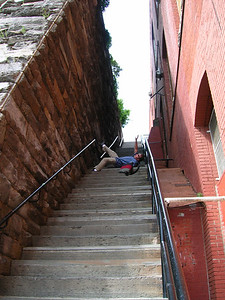 Re-enactment on Exorcist stairs, Georgetown