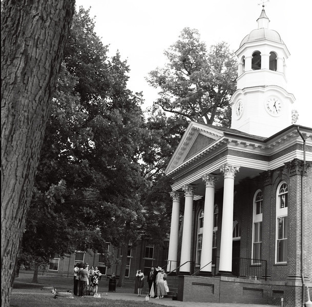 A wedding in front of the county courthouse in Leesburg, VA. Hasselblad 500c/m, Kodak T-Max 100