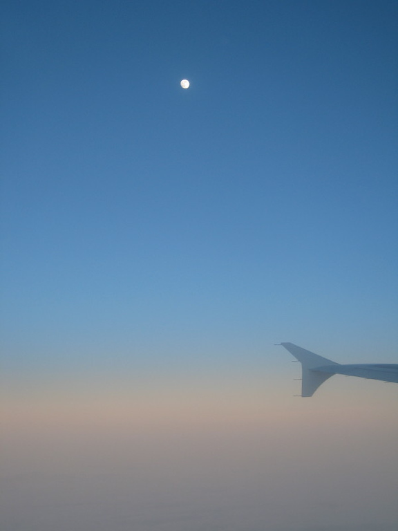 Airplane wing and the moon - Chicago to DC.