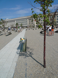 the way this artwork/Park is to be understood is. There is a name at the end of the bench, if you can read the name and you're facing the Pentagon the person lost their life in the Pentagon, if you can read the name and you're looking into clear blue sky away from the Pentagon they lost their life in the airplane. The benches simulate flight of the wing, running water underneath. They're lined up in the year the people were born. The name at the end of the bench represents the person at the bench is honoring, if there's names in the water underneath the bench those persons passed away as well but their bench is somewhere else in the park for these are family members.
