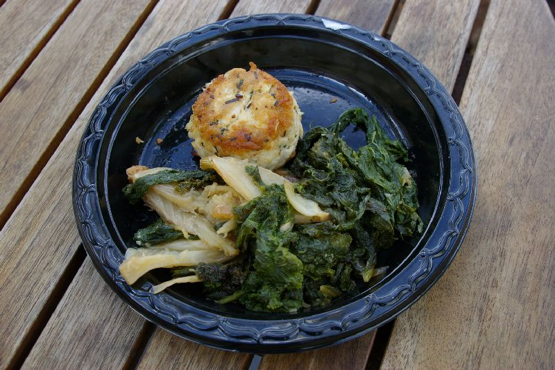 Middleburg: Crabcake with mustard greens and fennel.