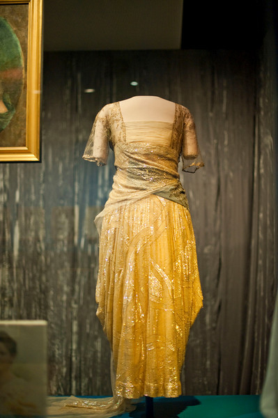 Florence Harding's inaugural dress. Features pearlized sequins on tulle and rhinestone trimmed blue velvet ribbon. Designed by Harry Collins