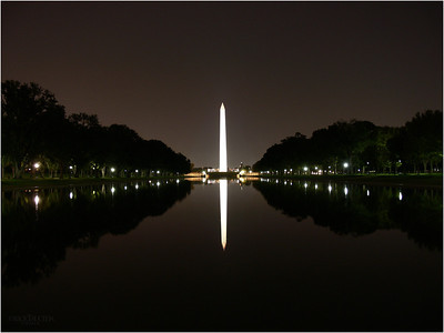 The Reflecting Pool is 2029 feet long as seen from the steps of the Lincoln Memorial.