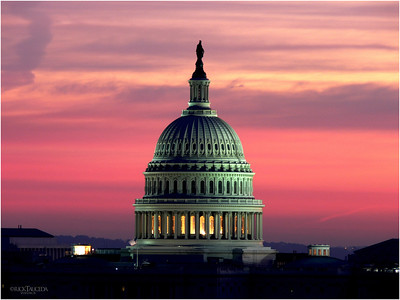 The spot lights illumine the house of legislation.