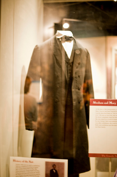 It is hard to see through the glare, but this is one of Lincoln's crusty old suits.