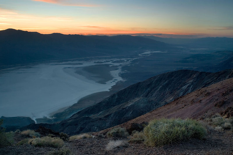 SUNSET VIEW OF BADWATER FROM DANTE'S VIEW