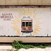 The mural on the outside of the abandoned Carver Medical Clinic in Treme, New Orleans