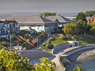 View towards Centre for Environment, Fisheries and Aquaculture Science (Cefas), the Nothe Gardens, Weymouth