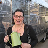 "Jeanne Juneau with her 1959 travel trailer and new ""vintage"" coffee pot"