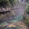 The azure waters of misty Vintgar: At Vintgar Gorge