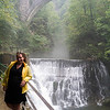 Courtney at the falls: At Vintgar Gorge