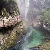 The walkways wend around the gorge: At Vintgar Gorge