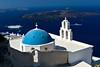 Church and cruise ship, Oia, Santorini, Greece