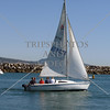 Sailboat leaving the marina at Dana Point, California.