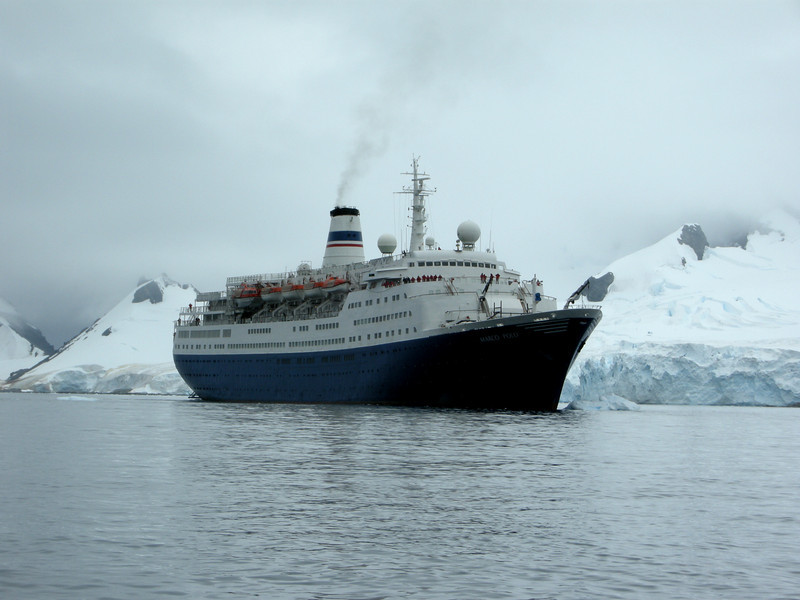 Cruiseship Marco Polo.  We have served as dance instructors on this ship for 7 cruises.  This ship is one of a handful of cruise ships that can actually land passengers on Antarctica.  Most other cruise ships can only permit a distant viewing of Antarctica.