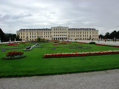 "This is a view of the ""Great Parterre"", the gardens behind the palace, which were masterminded by Maria-Theresa's consort, Emperor Franz I Stephan of Lorraine. The style is patterned on embroidery motifs, and is called  parterre de broiderie."
