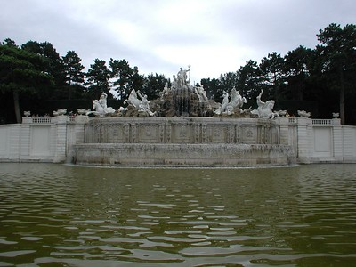 At the base of the hill behind the Great Parterre is the Neptune Fountain, commissioned by Maria-Theresa in the 1770s. It is carved in Sterzing marble. The fountain depicts Neptune driving across his dominion, the seas, surrounded by nymphs, and sea goddesses.  I should be so lucky; when I drive across the seas I have NO nymphs and one usually sea-SICK goddess...
