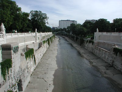 The Wien (Vienna) river, or rather its Los Angeles-like descendant, in the Stadt-Park (City Park).