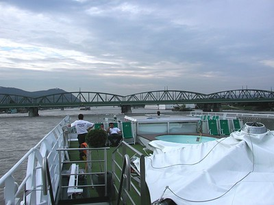 For a photo album, an underwhelming start. But this is the upper deck of our 300' long river ship, the Amadeus Royal, with EVERYTHING collapsed upon the top deck, so that the ship would fit under the bridges.  Here, we have just departed Vienna, heading upriver on the Danube, after a 6-hour bus ride from Munich.
