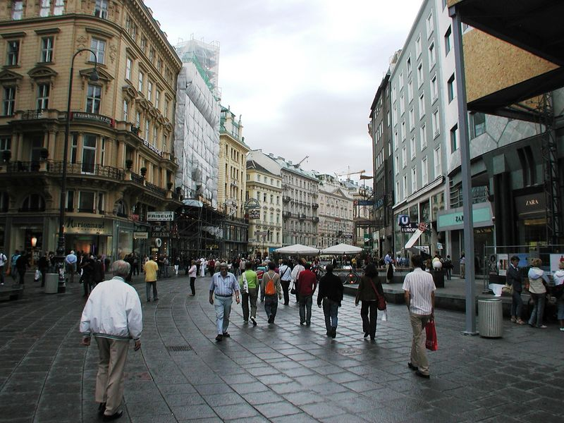 The several main streets converging on the cathedral were pedestrian zones, lined with name botiques, chocolate stores, and cafes.