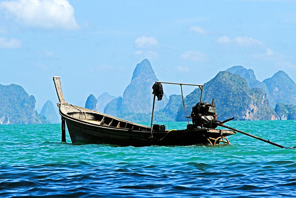Thai Boat in Middle on Purple Wall 36 x 24