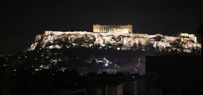 Acropolis at night from hotel roof