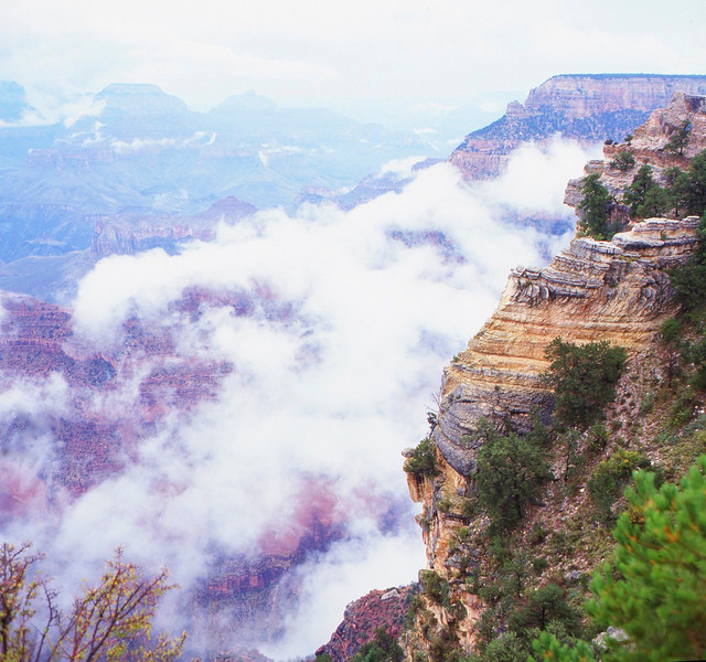 Looking down on the clouds from the South Rim