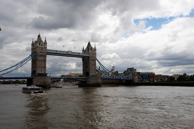The Tower Bridge against a cloudy sky