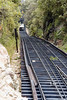 Incline Railway on Lookout Mountain outside of Chattanooga.<br /> Railway car travel a vertical distance of about 2000 feet in a mile.  At the top of the track where photo was taken the grade is 72% making this the steepest passenger railway in the world.