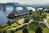 """Delta Queen"" and the bridge on the Tennessee River in Chattanooga"