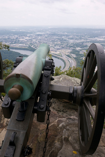 Chattanooga and Tennessee River from Lookout Mountain, Civil War cannon emplacement.