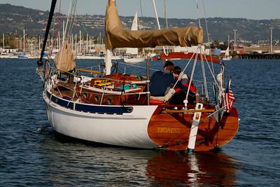 California: David's wooden sloop on SF Bay.