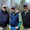 Tom, Chris and Mark...at the start of HEMLOCK course on Friday...became a beautiful day to play 18 holes...after as you will see in the next photos...rain as we shadowed the two fishermen in our group.