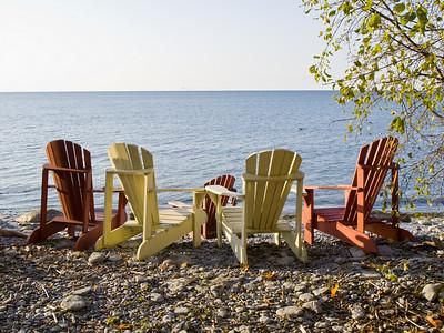Muskoka Chairs on the Shore