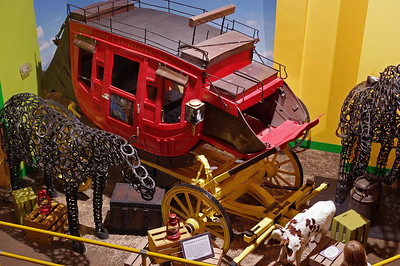 Ripley's Believe It Or Not Museum, Branson, Missouri. Full size stage coach is built from toothpicks. Notice two-headed calf, lower right.
