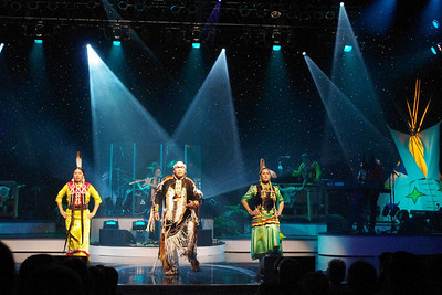 Three Native American dancers with Brule, performing in Branson, 10/26/11