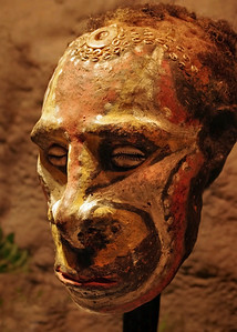 Ancestor Head, New Guinea. Traditionally, wooden figures with genuine human heads were strapped to the front of clan houses in pre-contact New Guinea. Ripley's Believe It Or Not Museum, Branson, Missouri.