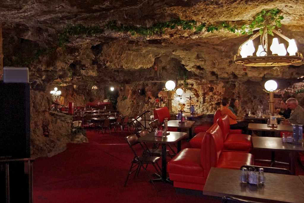 Dining room of the Cave Restaurant (formerly known as Caveman BBQ), near Richland, Missouri.