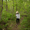 Rita hiking the trail at Cedar Gap Conservation Area near Mansfield, Missouri.