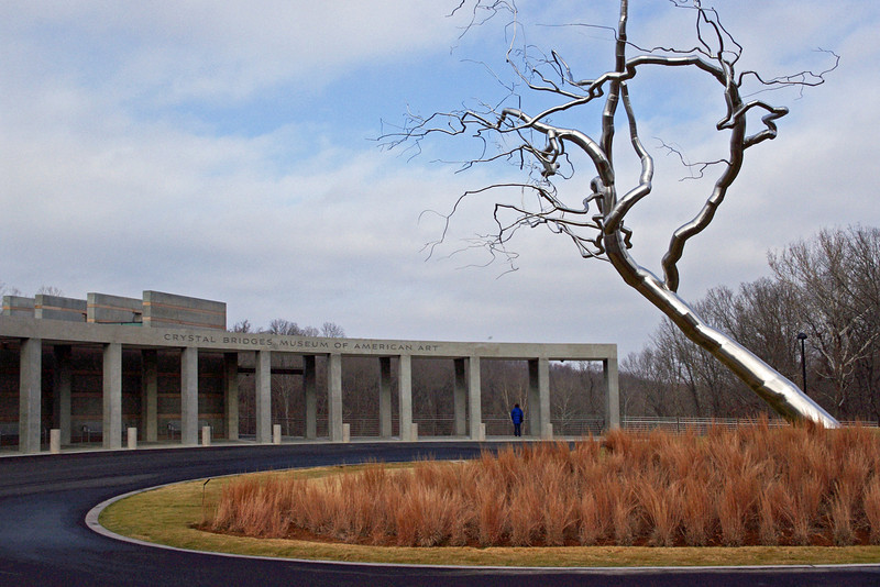 Stainless steel tree in front of the Crystal Bridges Museum, Bentonville, Arkansas.