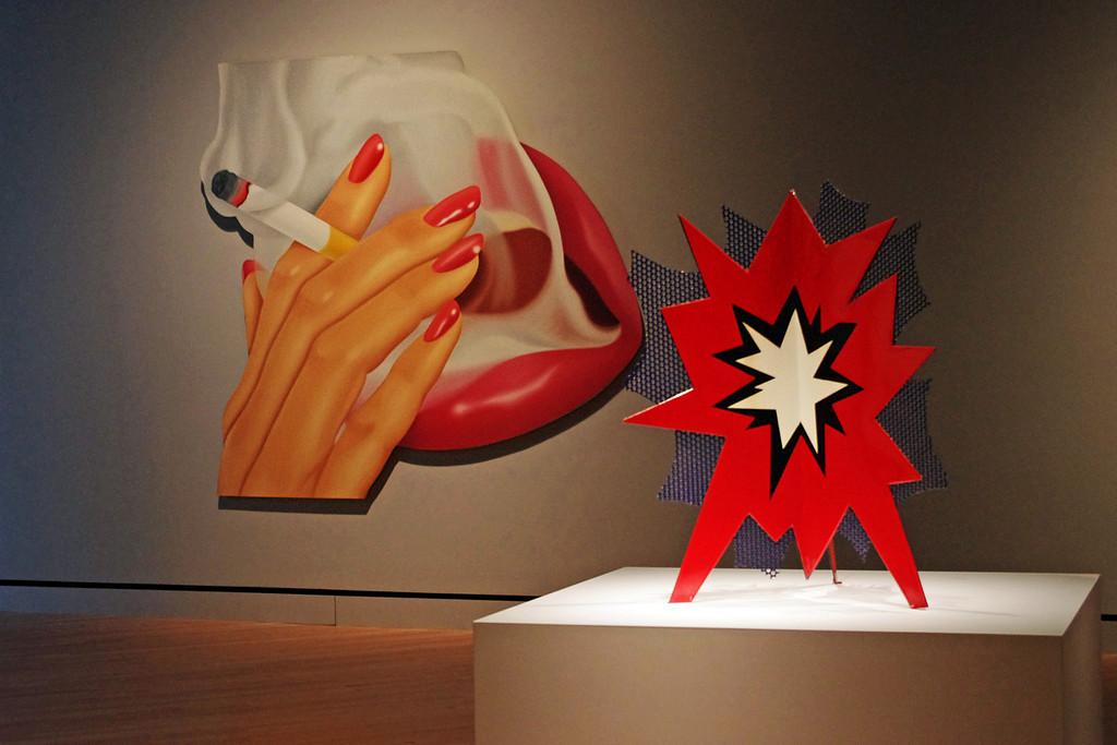 "Tom Wesselmann's ""Smoker #9"", and Roy Lichtenstein's ""Standing Explosion"".<br /> Crystal Bridges Museum, Bentonville, Arkansas."