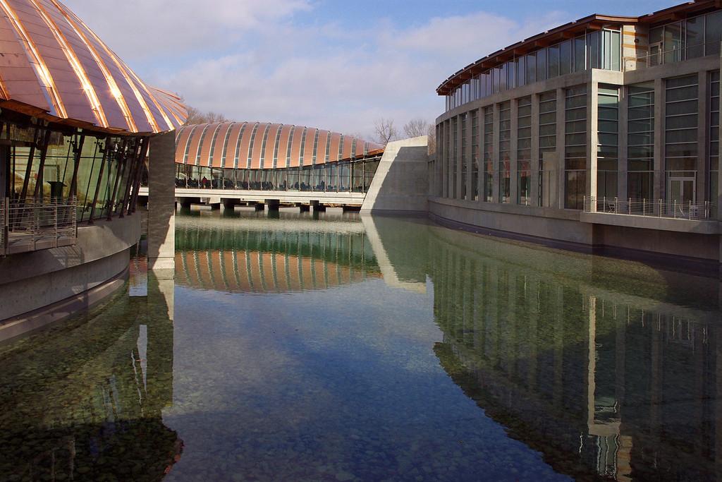 View from inside Crystal Bridges Museum, Bentonville, Arkansas.