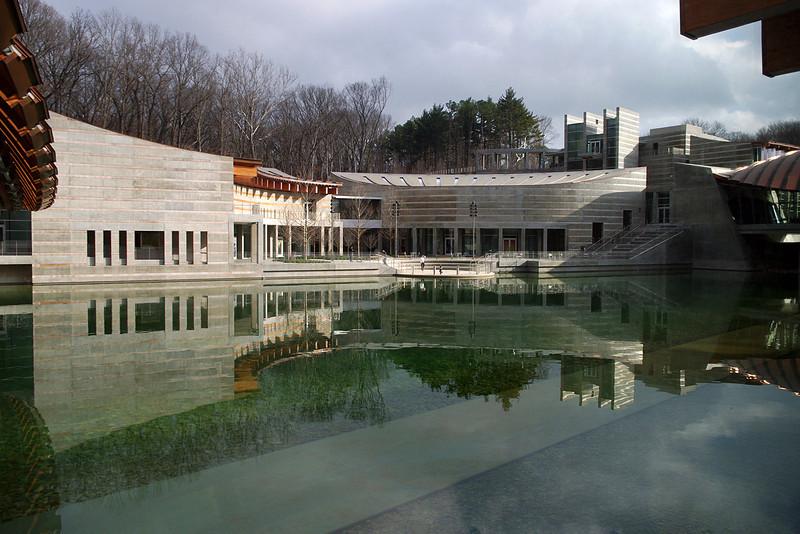 View of the lake from inside Crystal Bridges Museum, Bentonville, Arkansas.